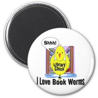 I Love Book Worms 6 Cm Round Magnet