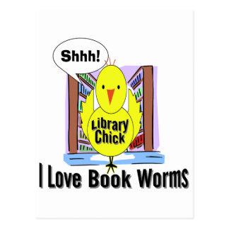 I Love Book Worms Postcard