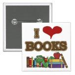 I Love Books 15 Cm Square Badge