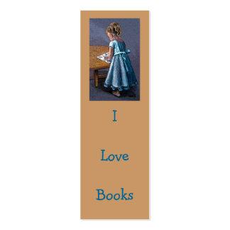 I LOVE BOOKS BOOKMARK : Litte Girl, Art Pack Of Skinny Business Cards