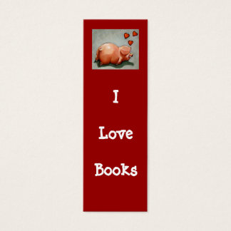 I LOVE BOOKS BOOKMARK WITH PIGGY MINI BUSINESS CARD