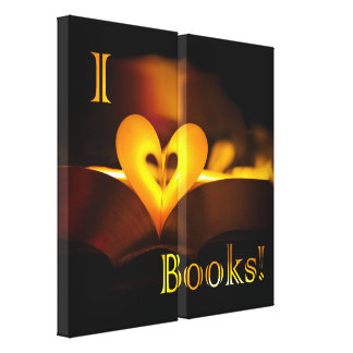 I Love Books - I Heart Books Candlelight Gallery Wrap Canvas