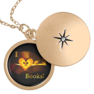 I Love Books - I 'Heart' Books (Candlelight) Gold Plated Necklace