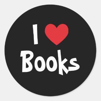 I Love Books Round Sticker
