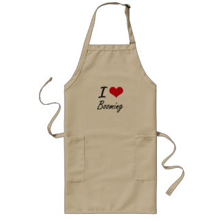 I Love Booming Artistic Design Long Apron
