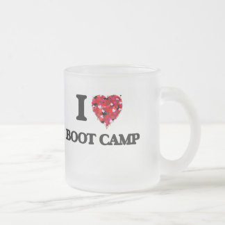 I Love Boot Camp Frosted Glass Mug