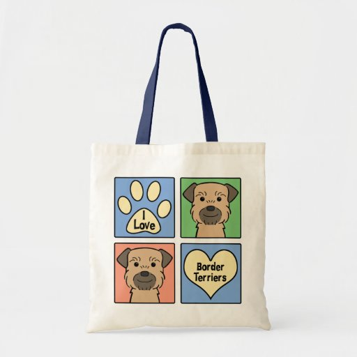 I Love Border Terriers Tote Bag