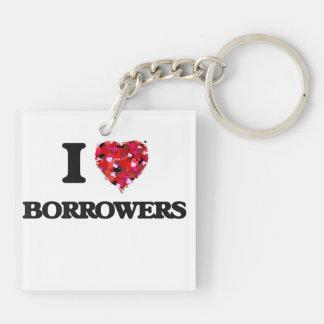 I Love Borrowers Double-Sided Square Acrylic Key Ring