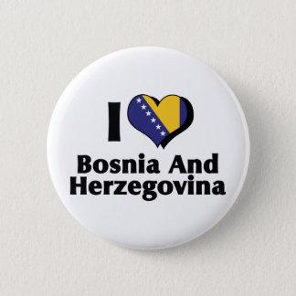 I Love Bosnia & Herzegovina Flag 6 Cm Round Badge