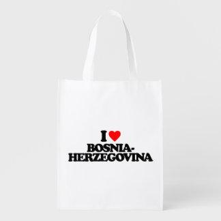 I LOVE BOSNIA-HERZEGOVINA REUSABLE GROCERY BAG
