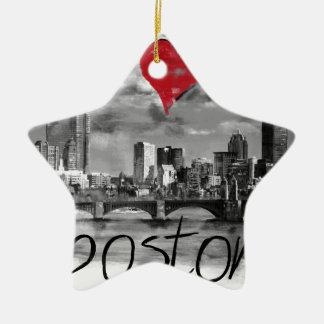 I love Boston Christmas Ornament