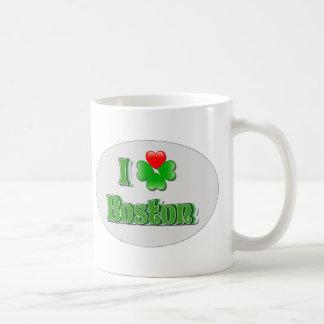 i Love Boston - Clover Classic White Coffee Mug