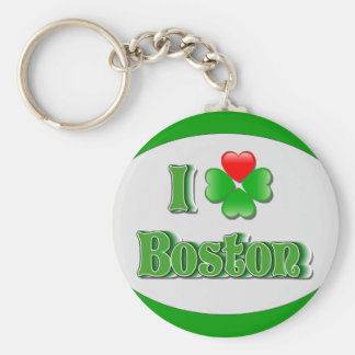i Love Boston - Clover Key Ring