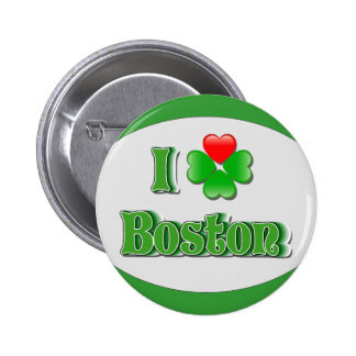 i Love Boston - Clover Pinback Buttons