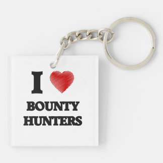 I love Bounty Hunters (Heart made from words) Double-Sided Square Acrylic Key Ring