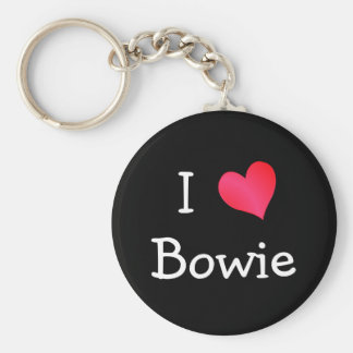 I Love Bowie Basic Round Button Key Ring