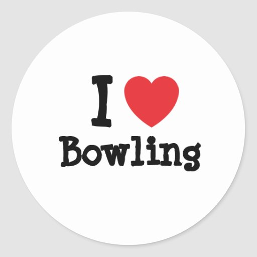 I love Bowling heart custom personalised Round Sticker