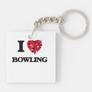 I Love Bowling Double-Sided Square Acrylic Key Ring