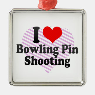 I love Bowling Pin Shooting Square Metal Christmas Ornament