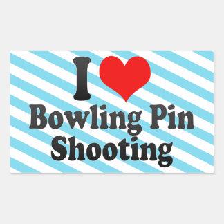 I love Bowling Pin Shooting Rectangular Sticker