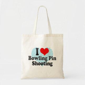 I love Bowling Pin Shooting Tote Bags