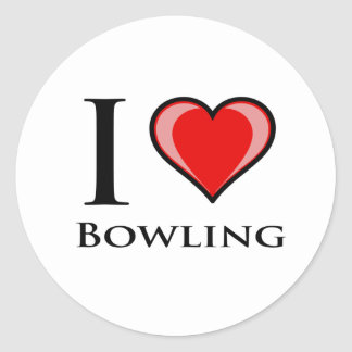 I Love Bowling Round Sticker