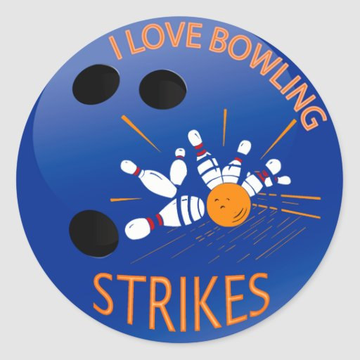 I LOVE BOWLING STRIKES ROUND STICKERS