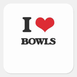 I Love Bowls Square Sticker