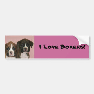 I Love Boxers Boxer Puppies bumper sticker Bumper Stickers