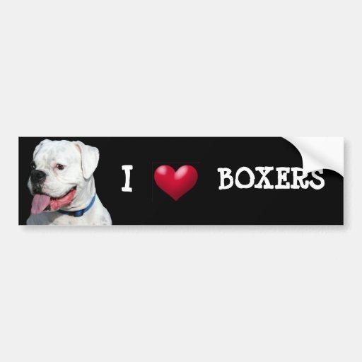 I Love Boxers bumper sticker