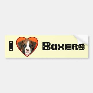 I Love boxers bumpersticker Bumper Sticker