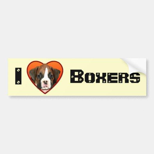 I Love boxers bumpersticker Bumper Stickers