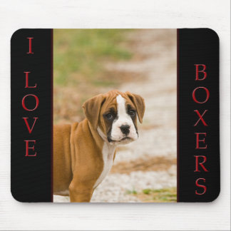 I Love Boxers Flashy Fawn Puppy Dog Mouse Pad