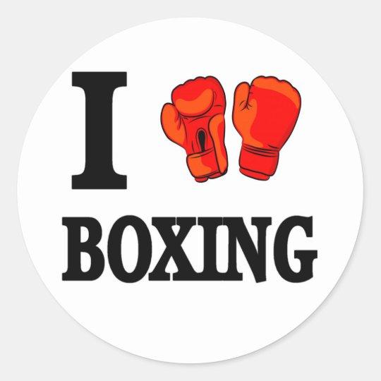 I Love Boxing Classic Round Sticker