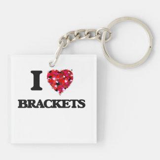 I Love Brackets Double-Sided Square Acrylic Key Ring