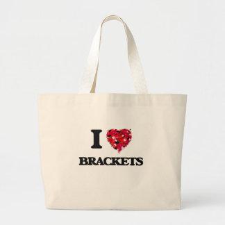 I Love Brackets Jumbo Tote Bag