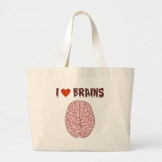 I Love Brains Large Tote Bag