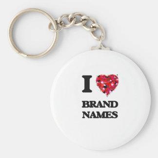 I Love Brand Names Basic Round Button Key Ring