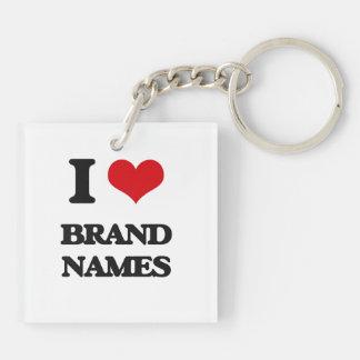 I Love Brand Names Acrylic Key Chains