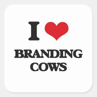 I love Branding Cows Square Sticker