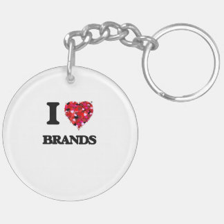 I Love Brands Double-Sided Round Acrylic Key Ring