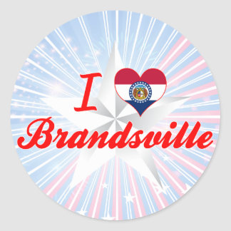 I Love Brandsville Missouri Round Sticker