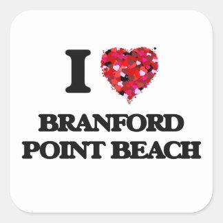 I love Branford Point Beach Connecticut Square Sticker