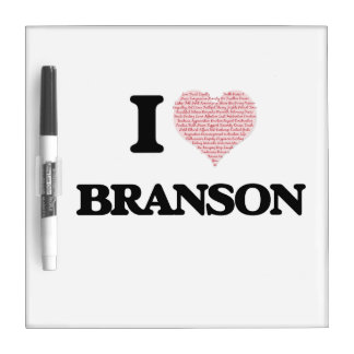 I Love Branson (Heart Made from Love words) Dry-Erase Whiteboards