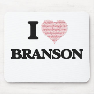 I Love Branson (Heart Made from Love words) Mouse Pad