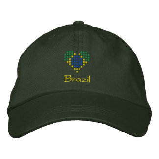 I Love Brazil Cap - Brazilian Heart Flag Hat