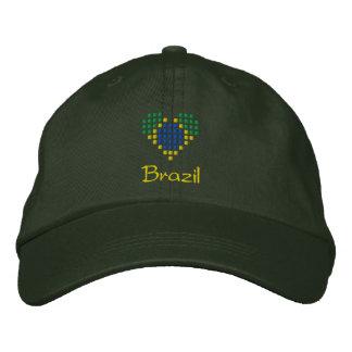 I Love Brazil Cap - Brazilian Heart Flag Hat Embroidered Hats