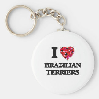 I love Brazilian Terriers Basic Round Button Key Ring
