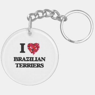 I love Brazilian Terriers Double-Sided Round Acrylic Key Ring