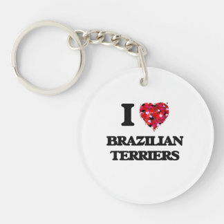 I love Brazilian Terriers Single-Sided Round Acrylic Key Ring